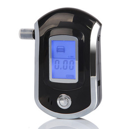 Wholesale AT6000 Alcohol Breath Tester Digital Breathalyzer Mini Portable Professional Alcohol Monitor Blue LCD Graphic Display Sound Alarm Medical