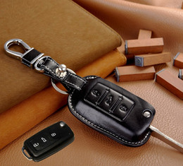 volkswagen vw golf Canada - Leather Car Key Cover Holder for Volkswagen VW Tiguan Golf 5 Bora Touran Touareg Skoda Octavia Car Key Leather Keychain Ring Remote Case