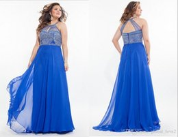 Barato Longo Halter Império Vestido De Baile-2016 Royal Blue Plus Size Prom Dresses Long Lilac Keyhole Neck Empire Waist Halter Vestidos Formal Beaded Backless Prom Dress Aqua Discount