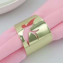 Pigeon Rings Canada - Wholesale Napkin Rings Gold Pigeon Cutout Metal Napkin Rings Hotel   Wedding Supplies Party Table Decoration Accessories Napkin Cloth ring