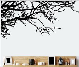 Large Removable Tree Decals Canada - Hot Sale Black Tree Top Branch Wall Decal Stickers Removable DIY Branch Art Mural Poster 60 x 140CM