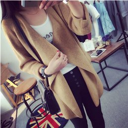 Pull Long Coréen Long Pas Cher-2015 New Autumn Winter Mode femmes version coréenne Irrégulier Grand lapin Long Pull Pull Manteau Big yards Cardigan en tricot Khaki K-8102