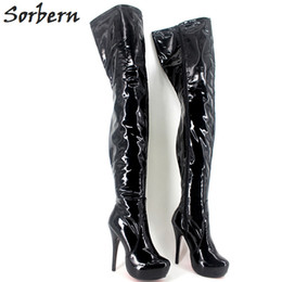 $enCountryForm.capitalKeyWord NZ - Sorbern Plus Size Women Boots Over The Knee Length Patent Length 15CM Heels High Heels Real Image Unisex Gay Dance Boots Custom
