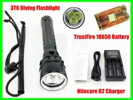 Flashlight Diving Canada - Waterproof 3T6 LED Diving Flashlight Torch Underwater 100M 4000 Lumen + 2pcs 18650 Battery + D2 Charger Free Shipping