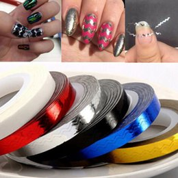Barato Fita De Pregos-Wholesale- 1 Roll NEW Cool Nice Roll Nail Stickers DIY Waves Striping Tape Line Nail Art Tips Decor