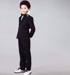 $enCountryForm.capitalKeyWord NZ - Elegant boys business suit pure color performance gown double-breasted suit wedding flower boys suits 2 pieces (jacket+pants+tie)