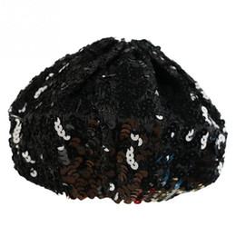 dcaa6301141 Wholesale-New Women Lady Stretch Shining Sequin Beret Hat Party Stage  Beanies Caps Gold Black Red