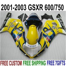 Kit Gsxr K1 NZ - ABS plastic fairing kit for SUZUKI GSX-R600 GSX-R750 2001-2003 K1 GSXR 600 750 yellow blue Corona new fairings set 01-03 EF5