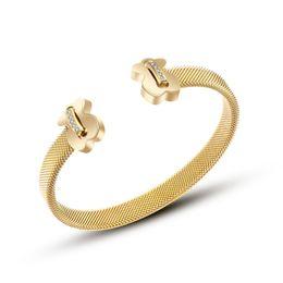 Famob Rand 316L de acero de titanio, chapado en oro rosa brazalete brazalete hembra bijoux hombre abierto amor pulsera regalo para hombres