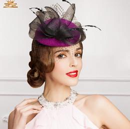 $enCountryForm.capitalKeyWord Canada - Free Shipping New Design Purple Black Vintage Hat Birdcage Head Veils Wedding Bridal Accessories 2015 Party Women Hats Black Bride Hat S-115
