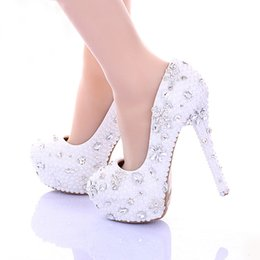 white kitten heel rhinestone shoes NZ - 14cm High Heel White Pearl Wedding Shoes Women Pumps Spring High Heel Bridal Dress Shoes Glitter Rhinestone Party Platforms