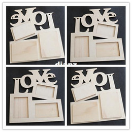 New Arrive Hollow Love Wooden Photo Frame White Base DIY Picture Frame Art Decor on Sale