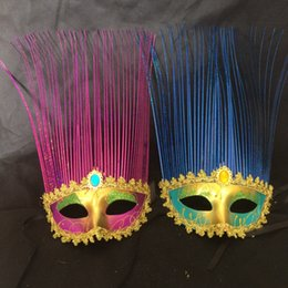 celebrity party decorations 2019 - Spray paint Coloured drawing or pattern lace The rain mask party holiday dance Wedding decoration mask 10pcs discount ce