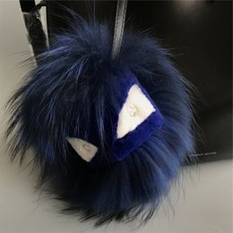 "$enCountryForm.capitalKeyWord NZ - 8"" Navy blue Real Fox Fur Monster Bug bag Charm Ball Pom pom Keychain Keyring Tassels Pendant Handbag"