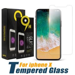 Großhandel Displayschutzfolie für das iPhone 11 Pro Max XS Max XR ausgeglichenes Glas für iPhone 7 8 Plus LG stylo 5 Moto E6-Schutz-Film 0,33 mm mit Papierkasten