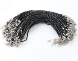 Großhandel 100 teile / los 21 Farben 20 + 5 cm Leder Geflochtene Charme Kette Armbänder Liebe Für Bead hummerverschluss Link Ketten