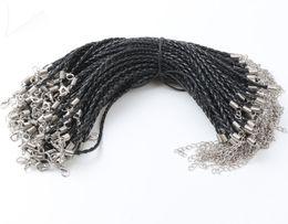 Ingrosso 100ps / lot 21 colori 20 + 5 cm braccialetti di cuoio intrecciati catena di fascino amore per bead aragosta catenaccio catene di collegamento