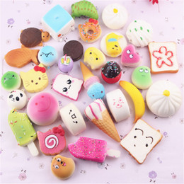 rare squishies cell UK - Kawaii Squishies Bun Toast Donut Bread for cell phone Bag Charm Straps Wholesale mixed Rare Squishy slow rising lanyard DHL