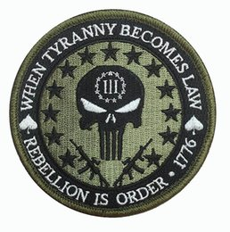 Punisher morale Patches online shopping - Prime Cool Squad Men s Three Percent Tyranny Punisher Liberty Morale Embroidery Badge Iron On Patch For Clothing Applique CM