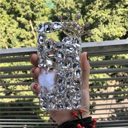 Rhinestone Case For S5 NZ - Bling Diamond Crown Fox fur transparent Cover Case for Samsung galaxy Note 8 5 4 3 S5 4 3 S8 S7 S6 S8 Plus A3 A5 A7