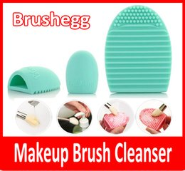 makeup brush cleaner wholesale Canada - Egg Cleaning Glove MakeUp Washing Brush Scrubber Board Cosmetic Brushegg Cosmetic Brush Egg Pink Purple Mint Green