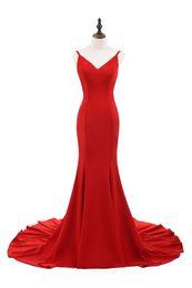 Red Dress V Neck Straps Australia - Really Photo Red Taffeta Deep V-Neck Spaghetti Straps Backless Lace Up Sweep Train Long Prom Party Dress robe de bal Vestido de fiesta