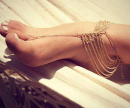 Barefoot Sandals Feet Canada - Wedding Luxury Barefoot Sandals Silver Gray Gold Anklet Women Ankle Bracelet Foot Ankle Chain Toe Ring Jewelry Multi-layer sandbeach Bridal
