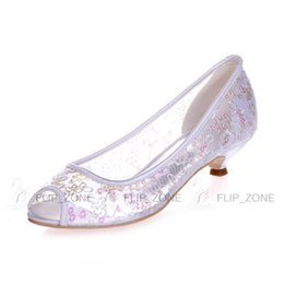 0eebfbb52974 Sparkly Sequins Wedding Shoes with Open Peep Toe Low Heels Sheer Lace  Bridal Evening Party Prom Bridesmaid Dresses Shoes Ivory Gold Sandals