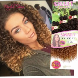 cheap ombre braiding hair Canada - CHEAP HIGH QUALITY crochet braids hair weaves USEFUL Christmas 6PCS LOT ombre color Synthetic hair wefts Jerry curl crochet hair extensions