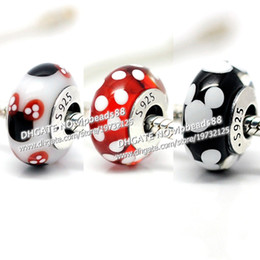 Discount murano glass round pendant white NEW 3pcs S925 Sterling Silver Black and white M-key charm Murano Glass Beads Fit European Jewel pandora Charm Bracelets & Pendant