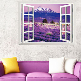 $enCountryForm.capitalKeyWord UK - Landscape Lavender and Hills Fake Window 3D Removable Home Decor Wall Sticker