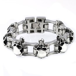 Movie Steel Canada - Mens Stainless Steel Bracelet Skull Bycicle Chain 22.8CM Silver