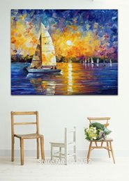 sailing paintings NZ - Sailing Boat Drift on Sunset Ocean Palette Knife Oil Painting Wall Art Picture Printed On Canvas For Office Home Hotel Decor