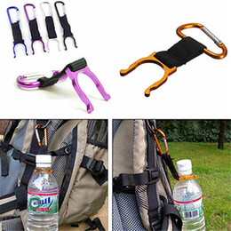 Discount bottle buckle - Aluminum Carabiner Water Bottle Buckle Hook Holder Clip Camping Hiking Key Chain Multi-color Colorful LZ0579