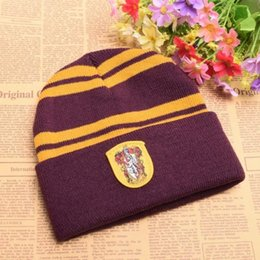 Cosplay Harry Potter Hat Knit Beanies Hogwarts Badge Hats Gryffindor  Hufflepuff Slytherin Ravenclaw Striped Caps Gifts 6453991beba1