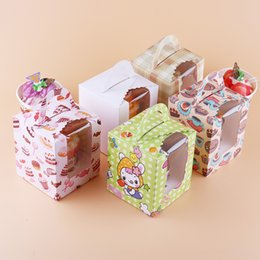 Cupcake Cake Patterns NZ - 100pcs Assorted Color Single Cupcake Boxes With Clear Window and Packaging Of Cake With Personalized Pattern For Wedding