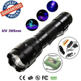 torch flashlight charger 2019 - ALONEFIRE 502b 395nm Uv LED Flashlights Ore id Currency Passports Detector UV lamplight torches lamps with Battery and c