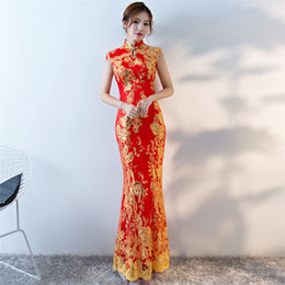 Wholesale Shanghai Story Mermaid Qipao long Cheonsam flower embroidered  mermaid fish tail chinese style cheongsam sequins