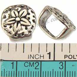 $enCountryForm.capitalKeyWord Canada - 10*7mm Large Hole Beads Charms For Multilayer Bracelets Watch Bangles DIY Retro Silver Round Flower Metal Jewelry Findings 15*14*11mm 100pcs
