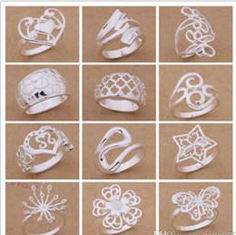Venta al por mayor de Orden mezclada 24pcs / lot 925 plateó los anillos del estilo del partido de la joyería de moda del regalo de Navidad de calidad superior del envío libre 1766