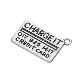 $enCountryForm.capitalKeyWord Canada - Hot sell Euro-American Jewelry CHARGEIT Letter Necklace Fashion Antique Silver Plated Chain Pendant Women Jewelry Wholesale 10pcs lot