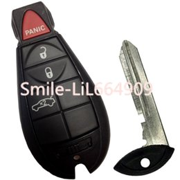 Keys Chip Shell Australia - Replacement Smart Remote Car Key Fob Shell Case for Dodge Challenger Magnum Charger Chrysler 4 Buttons No Chip Uncut Insert