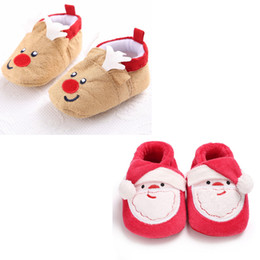 Santa clauS coStumeS for boyS online shopping - Baby slip on soft sole shoes Infants Christmas cartoon cloth shoes Santa Claus Elk prewalkers for boys girls Newborns Xmas Costume props