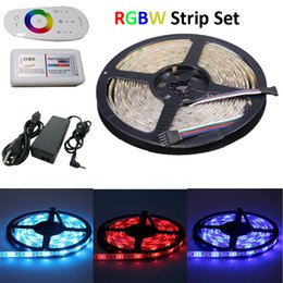 Venta al por mayor de 16.4 pies impermeable RGBW LED Flexible Tape Strip Light 5M 300 SMD5050 + 1pc 2.4G RF Touch RGBW LED Controlador + 1pc 60W LED Adaptador de corriente
