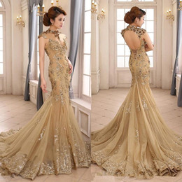 Barato Vestidos Clássicos Modernos-Gold Jewel Mermaid Sexy Evening Dresses Elegante sem mangas Hollow Vintage Tulle Classic Evening Gowns Modern Prom Dresses