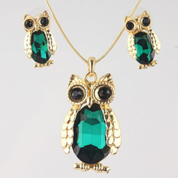 $enCountryForm.capitalKeyWord NZ - Vintage Style Animals Design 18K Gold Plated 4 Color Austrian Crystal Pendant Necklace&Earrings Set Party Jewelry Sets For Women
