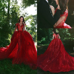 Barato Longo Vestido Vermelho Sequin-Árabe Red Prom Dress Manga comprida Lace Appliques Sequins Mermaid Prom Dresses Com Overskirt Vintage Cocktail formal Evening Party Gowns