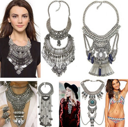 mexican silver collar necklace Australia - Bohemian Statement Necklaces Tassel Drop Vintage Collar Femal Choker Collar Multi Layer Necklace for Women Chunky necklaces