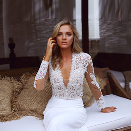 $enCountryForm.capitalKeyWord Canada - 2pieces Wedding Dresses White Lace Long Sleeve T-shirt mermaid Satin Skirt V-Neck Bridal Gowns ML9917
