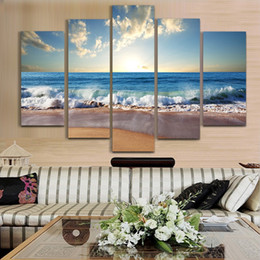 $enCountryForm.capitalKeyWord NZ - New Design Home Decoration 5 Panel Seascape Painting Modern Art Picture Print on Canvas Unframed Painting Living Room Decor Free Shipping